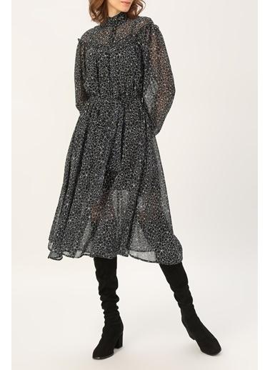 Random Kadın Hakim Yaka Fırfır Detaylı Desenli Elbise Siyah